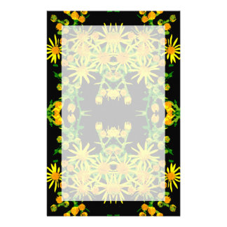 Yellow Floral Graphic. Customized Stationery