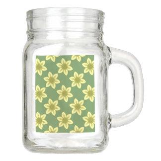 Yellow Floral Kaleidoscope Mason Jar