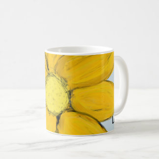 Yellow Floral Love Personalized Blue Mugs