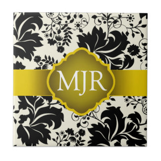 Yellow Floral Monogram Keepsake Wedding Favor Small Square Tile