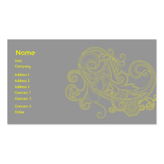 Yellow Floral Pattern - Business Business Card Templates