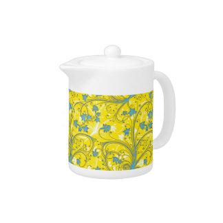 Yellow Floral Porcelain Teapot