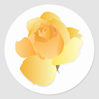 Yellow Floral Rose Classic Round Sticker