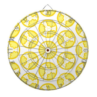 Yellow floral spheres dartboard