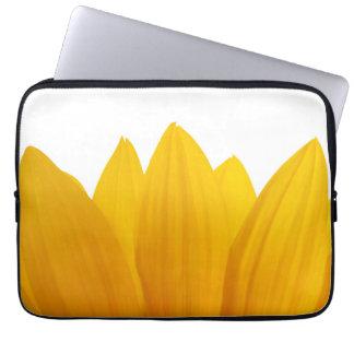 Yellow floral sunflower petals laptop computer sleeve