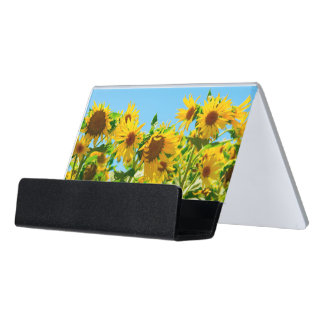 Yellow Floral Sunflowers Desk Business Card Holder