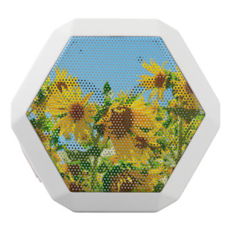 Yellow Floral Sunflowers White Bluetooth Speaker