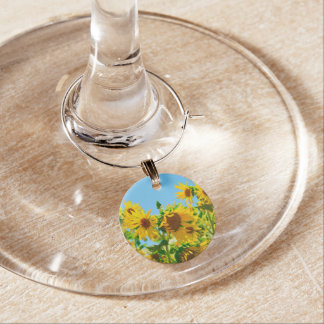 Yellow Floral Sunflowers Wine Charm