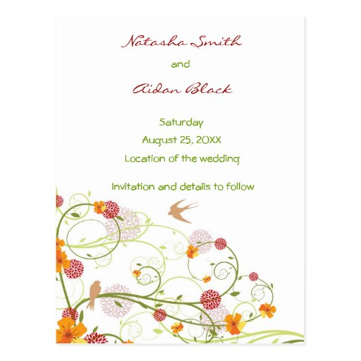 Yellow Floral Swallows Save Date /RSVP/ Invitation Post Cards