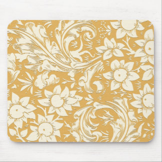 yellow floral vintage mouse pad
