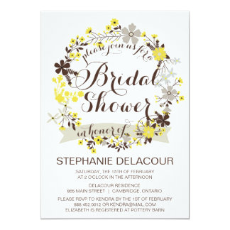 Yellow Floral Wreath Bridal Shower Invitations