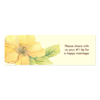 Yellow Florals Wedding Questionnaire Business Card Template