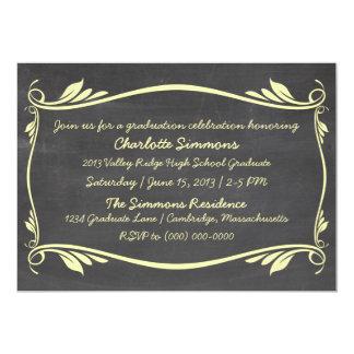 Yellow Flourish Chalkboard Graduation Invite