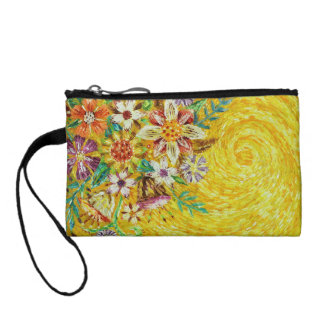 Yellow Flower Abstract Art Coin Purses