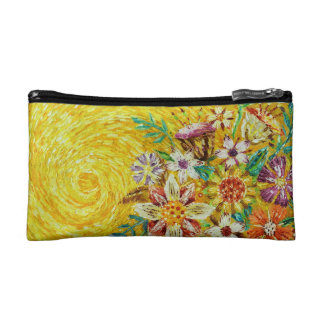 Yellow Flower Abstract Art Cosmetic Bag
