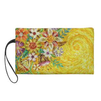 Yellow Flower Abstract Art Wristlet