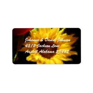 Yellow Flower Address Labels