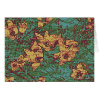 Yellow flower against leaf camouflage pattern 2 card