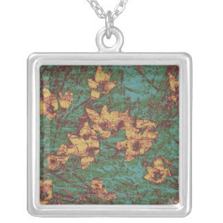 Yellow flower against leaf camouflage pattern 2 silver plated necklace