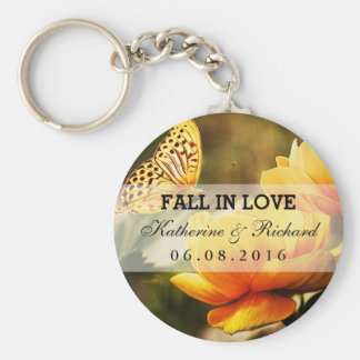 Yellow Flower and Butterfly Wedding Favor Keychain