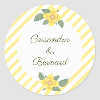 Yellow Flower and Stripe Wedding | Stickers