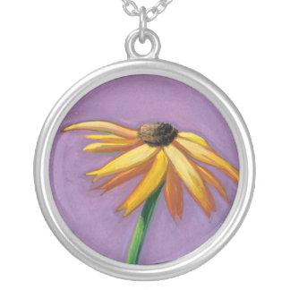 Yellow flower art beautiful Gaillardia painting Custom Necklace
