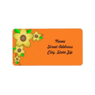 Yellow Flower  Background Address Sticker Address Label