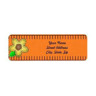Yellow Flower Background Return Address Sticker Return Address Label