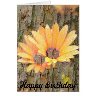 Yellow Flower Bark Happy Birthday Card