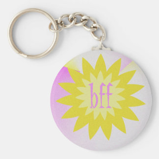 Yellow flower Bff Basic Round Button Key Ring