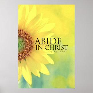 Yellow Flower Bible verse John 15:4-7 Poster