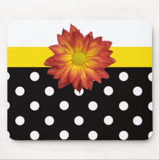 Yellow flower black white polka dot girly mouse pad