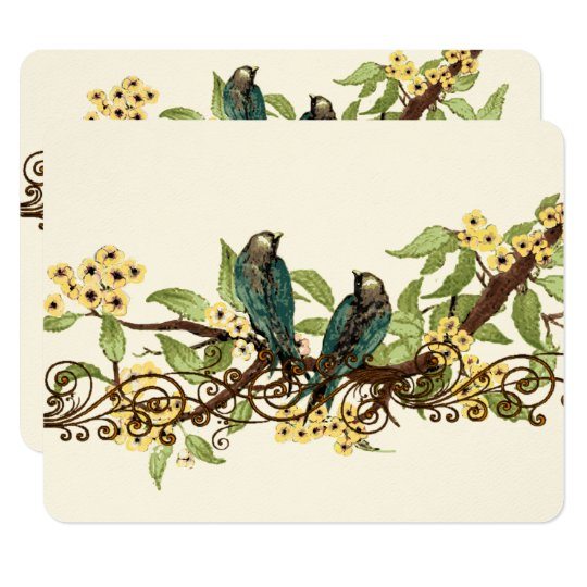 Yellow Flower Branch Vintage Birds Wedding RSVP 11 Cm X 14 Cm Invitation Card