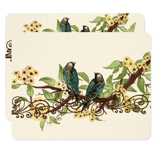 Yellow Flower Branch Vintage Birds Wedding RSVP Card