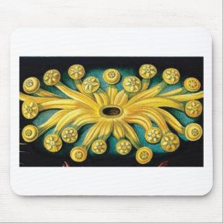 yellow flower burst art mouse pad