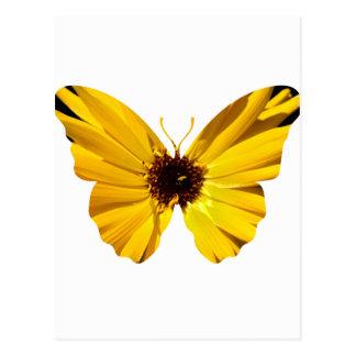 Yellow flower butterfly silhouette postcard