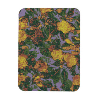 Yellow flower camouflage pattern rectangular photo magnet