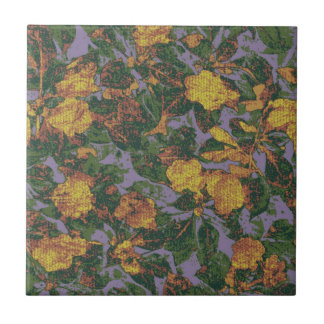 Yellow flower camouflage pattern small square tile