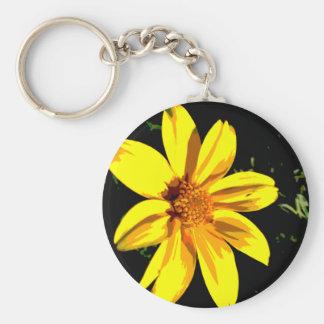 Yellow Flower Design Basic Round Button Key Ring