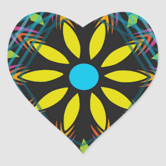 Yellow flower faded blue diamonds heart sticker