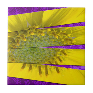 Yellow Flower Four Panel Design Ceramic Tile