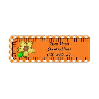 Yellow Flower GinBackground Return Address Sticker Return Address Label