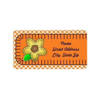 Yellow Flower  Gingham Background Address Sticker Address Label