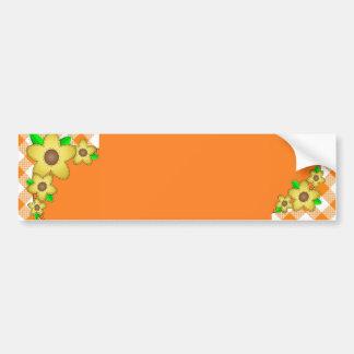 Yellow Flower  Gingham Background Bumper Sticker