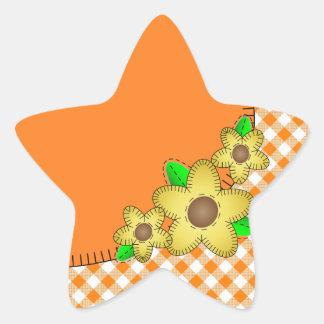 Yellow Flower  Gingham Background Star Sticker