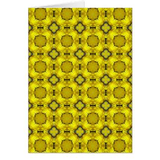 Yellow Flower Grid Greeting Card (Blank)