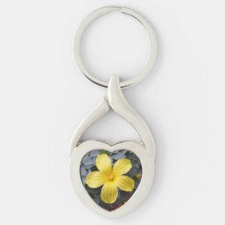 Yellow Flower Heart Keychain
