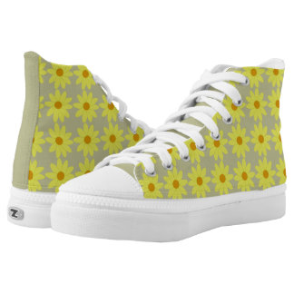 Yellow Flower High Top ZIPZ® Printed Shoes
