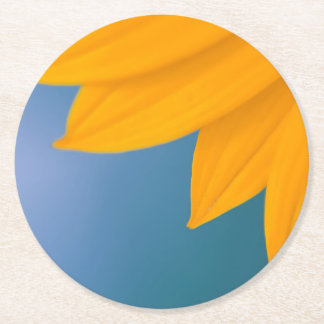 Yellow Flower on Blue background Round Paper Coaster