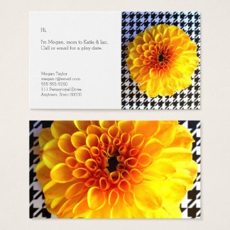 Yellow flower on houndstooth business card